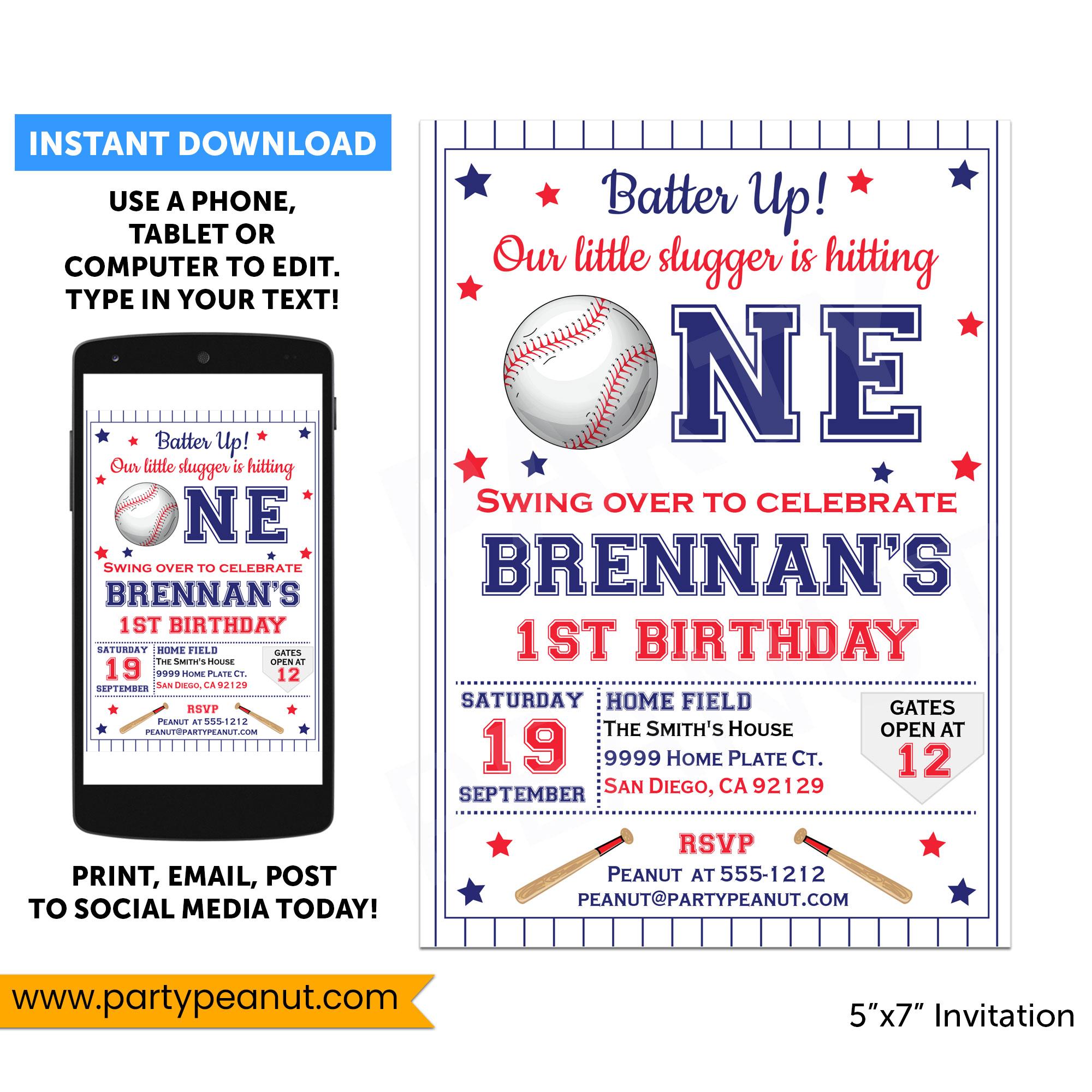1st Birthday Baseball Invitation Party Printable