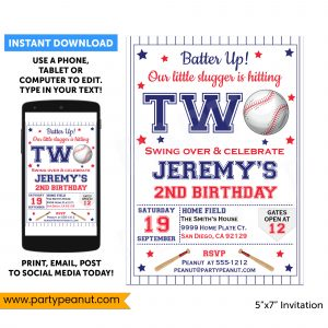 2nd Birthday Baseball Invitation Party Printable