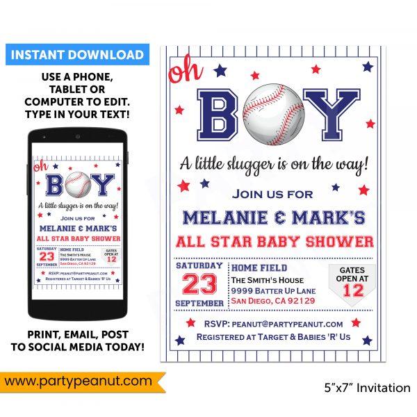 Baseball Baby Shower Invitation Party Printable