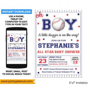 Baseball Baby Shower Invitations Party Printable