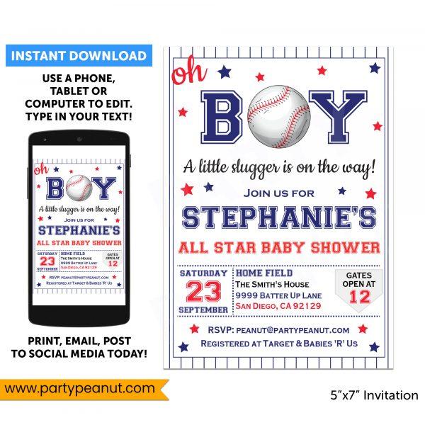 Baseball Baby Shower Invitations Party Printable