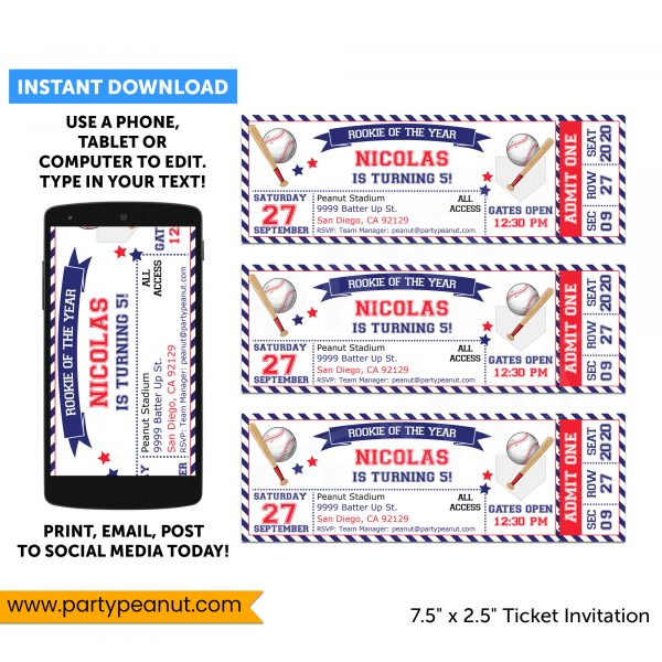 Baseball Ticket Invitations Party Printable