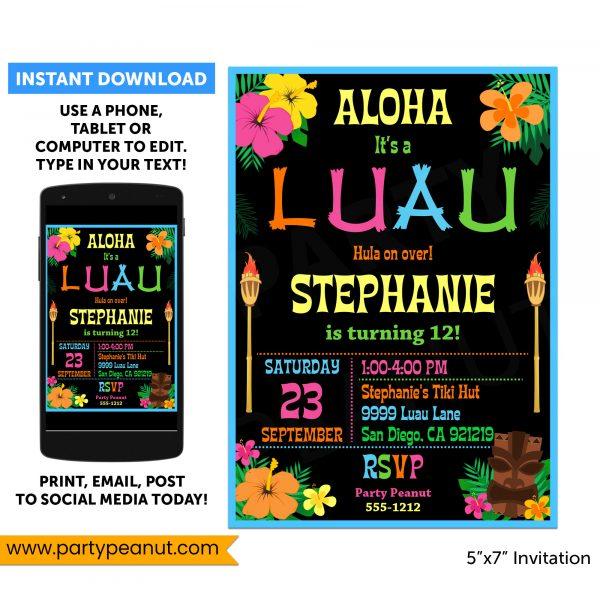 Hawaiian Luau Party Invitation Luau Party Printable