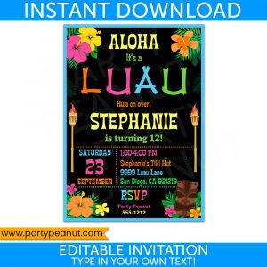 Hawaiian Luau Party Invitation Luau Party Printable