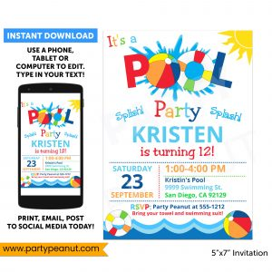 Pool Party Invitation Pool Birthday Party Printables