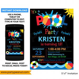 Pool Birthday Party Invitation Swimming Pool Party Printable