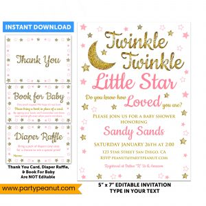 Twinkle Little Star Invitation Set Baby Shower Girl