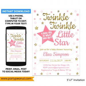 Twinkle Twinkle Little Star Gender Reveal Invitation Girl