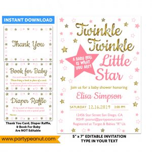 Twinkle Little Star Girl Gender Reveal Invitation Set