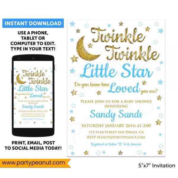 Twinkle Twinkle Little Star Shower Invitation Boy Printable