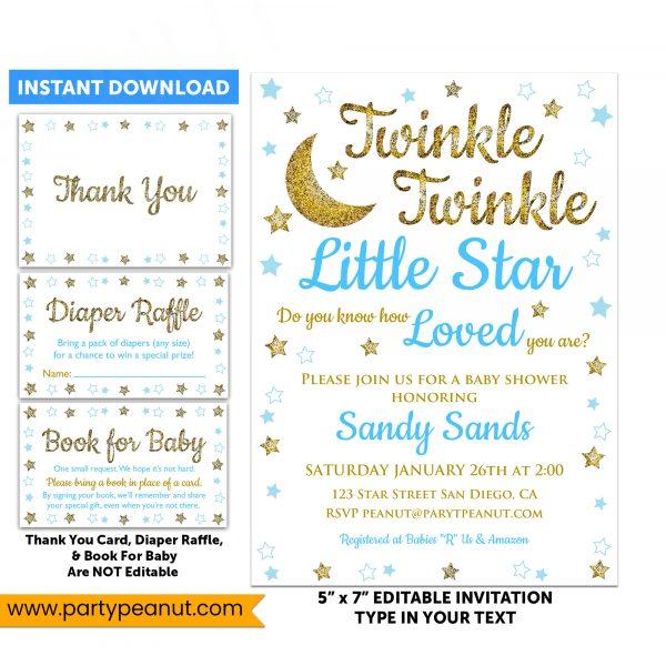 Twinkle Little Star Invitations Set Baby Shower Boy