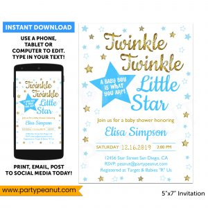 Twinkle Twinkle Little Star Gender Reveal Invitation Boy