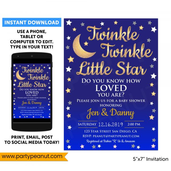 Twinkle Star Invitation Baby Shower Party Printable