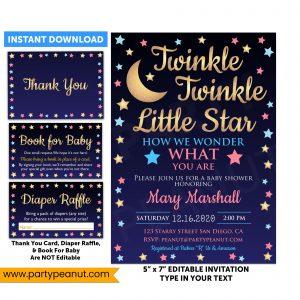 Twinkle Star Gender Reveal Invitation Party Printable