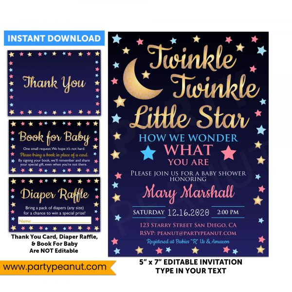 Twinkle Star Gender Reveal Invitation Party Printable