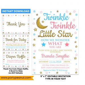 Twinkle Little Star Gender Reveal Invitation Party Printable