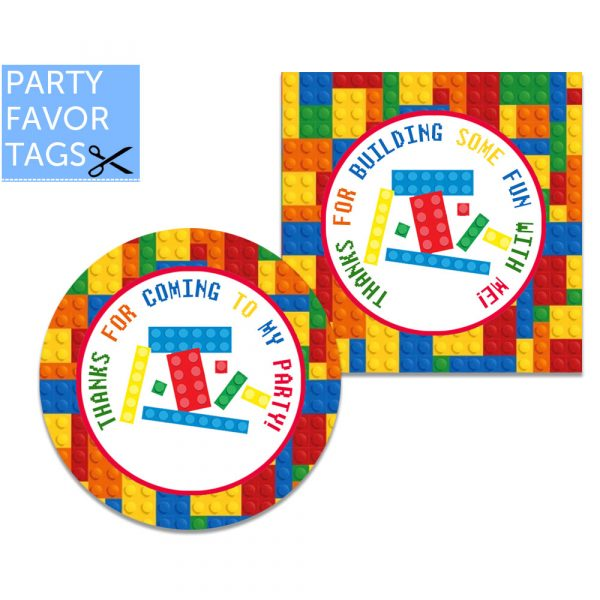 Building Block Tags - Instant Download Favor Tags