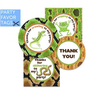 Reptile Favor Tags - Instant Download Favor Tags