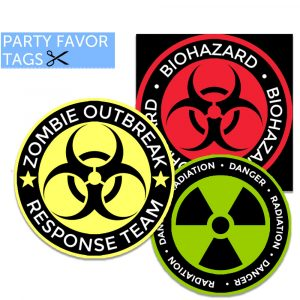 Zombie party favor tags - Instant Download Zombie Tags