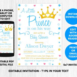 Prince Baby Shower Invitation Editable