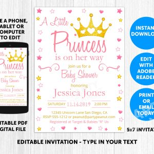 Princess Baby Shower Invitation Editable
