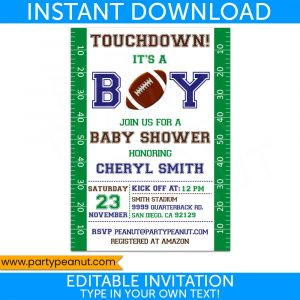 Football Baby Shower Invitation - Editable Download