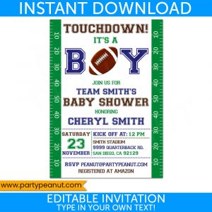 Football Invitaion - Baby Shower Invitation - Instant Download