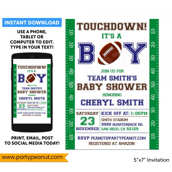 Football Baby Shower Invitation Party Printable