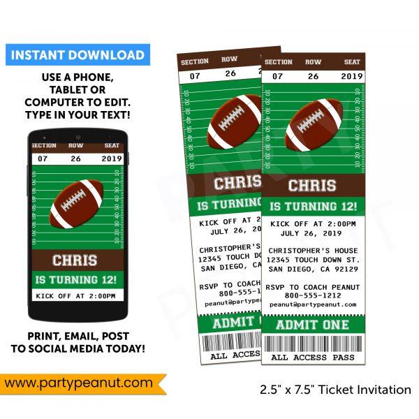 Football Ticket Invitation - Instant Download