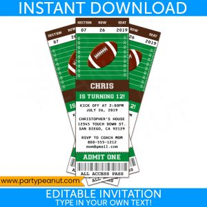 Football Ticket Invitation - Instant Download