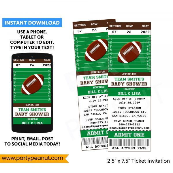 Football Baby Shower Invitation - Instant Download