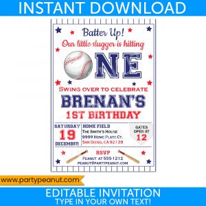 1st Birthday Baseball Invitation Party Printable