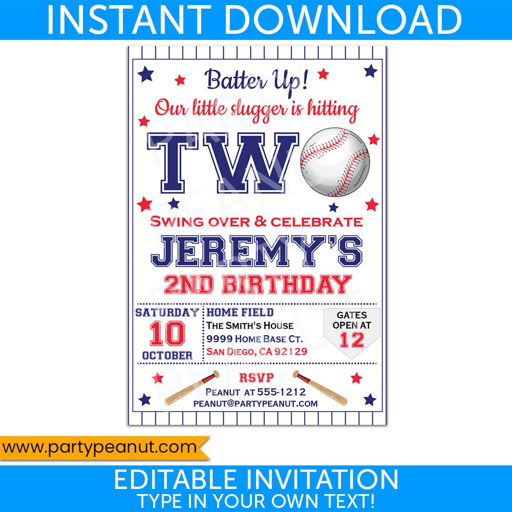 2nd Birthday Baseball Invitation Party Printable
