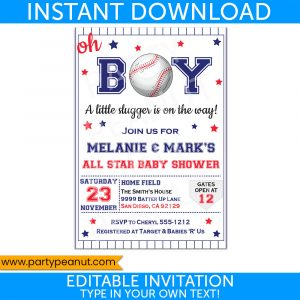 Baseball Baby Shower Invitation Party Printable