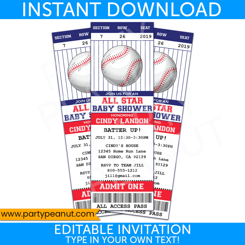 Baseball Baby Shower Ticket Invitation Printables