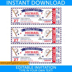 2nd Birthday Baseball Ticket Invitation Party Printables