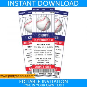 Baseball Ticket Invitation Party Printables
