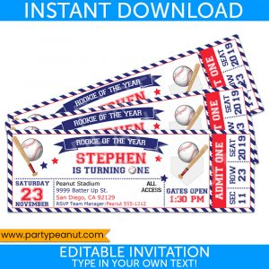 1st Birthday Baseball Ticket Invitation Party Printables