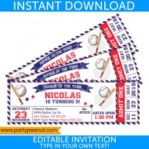 Baseball Ticket Invitations Party Printable