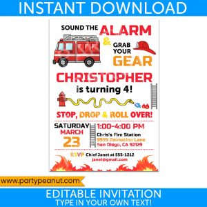Firetruck Invitation Firefighter Fireman Party Printables