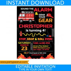 Firefighter Invitation Fire Truck Fireman Party Printables