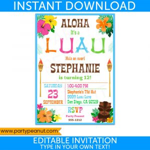 Luau Party Invitation Hawaiian Luau Party Printables
