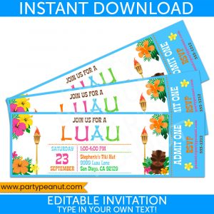 Luau Ticket Invitation Party Printable