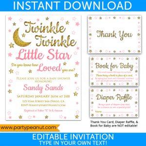 Twinkle Little Star Invitation Set Baby Shower Girl