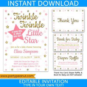Twinkle Little Star Girl Gender Reveal Invitation Set