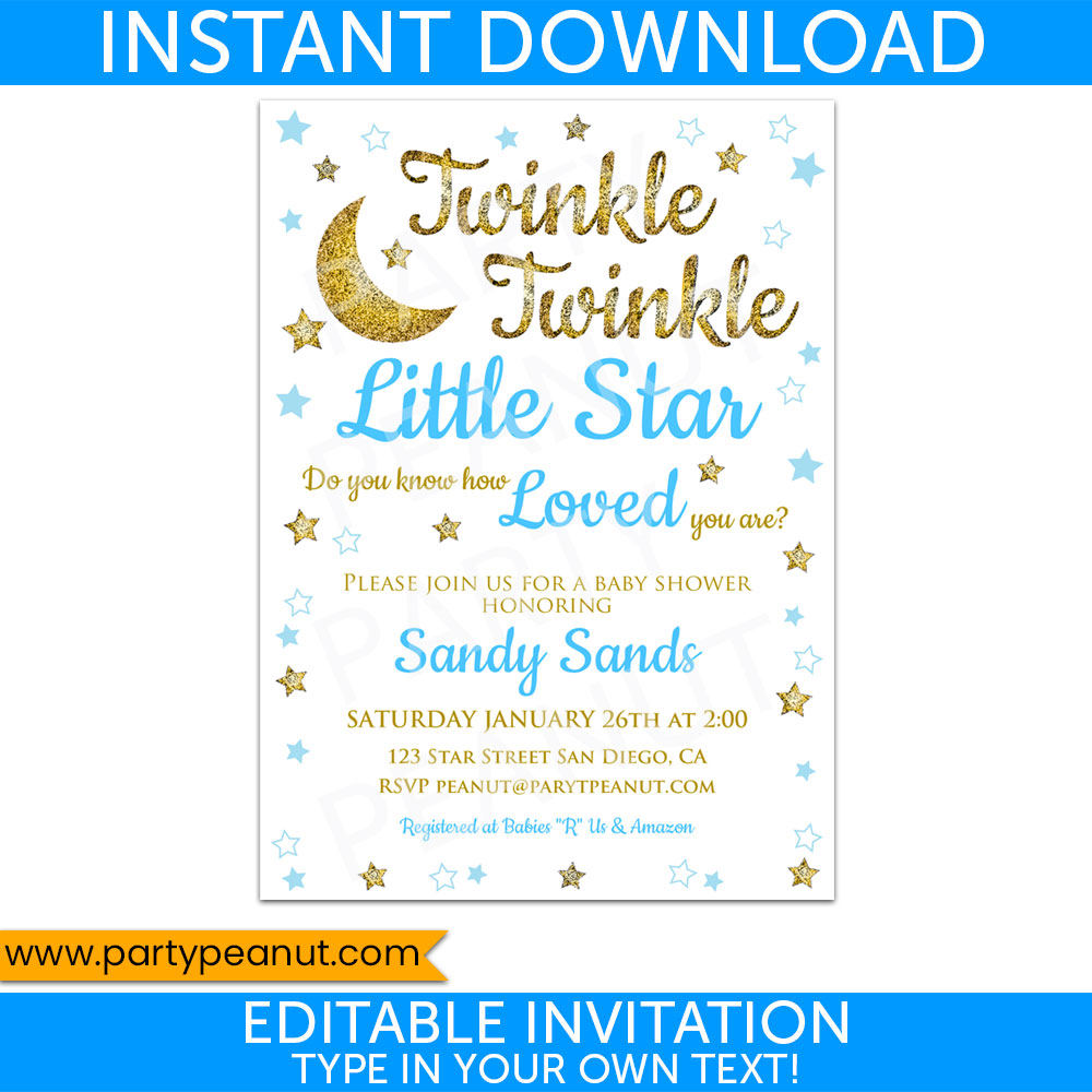 Twinkle Twinkle Little Star Shower Invitation Boy Printable