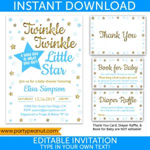 Twinkle Little Star Boy Gender Reveal Invitation Set