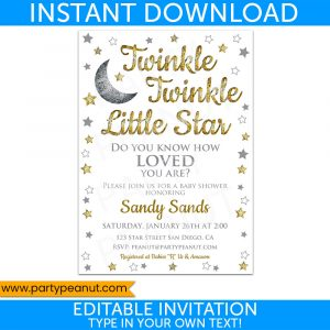 Twinkle Little Star Gold Invitation Party Printable
