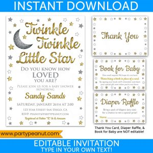 Twinkle Little Star Gold Invitation Set Party Printables