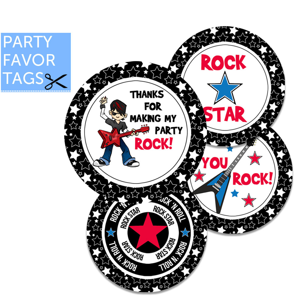 Rock Star Party Favor Tags - Instant Download